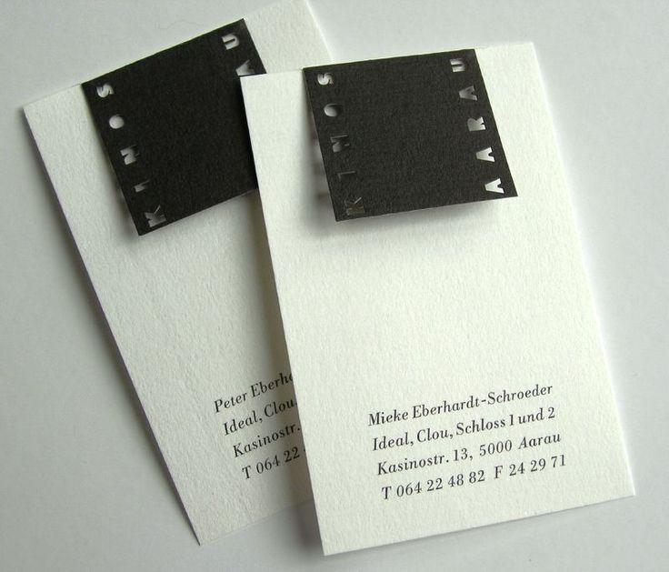 business card for Kinos Aarau (translated Cinemas) - designed by Heinz Wild