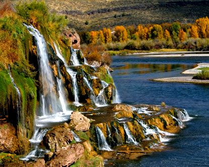 Thousand Springs Idaho (near Swan Valley). Water goes under lava formations, comes out of cliffs here, and flows into the Snake R