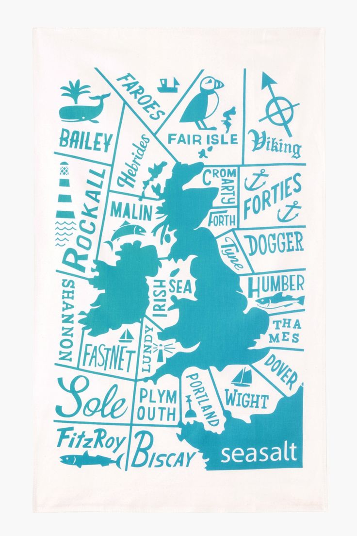 Shipping forecast tea towel print by Matt Johnson for Seasalt Cornwall.