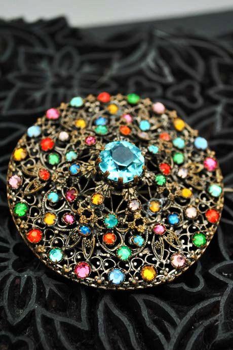 Large Vintage Filligree Bohemian Gemstone Brooch by DillyDandy