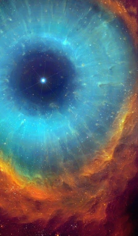 "The Helix Nebula (NGC 7293) is a large planetary nebula located in the constellation Aquarius-- (Linda would call this ""God's Iris"""