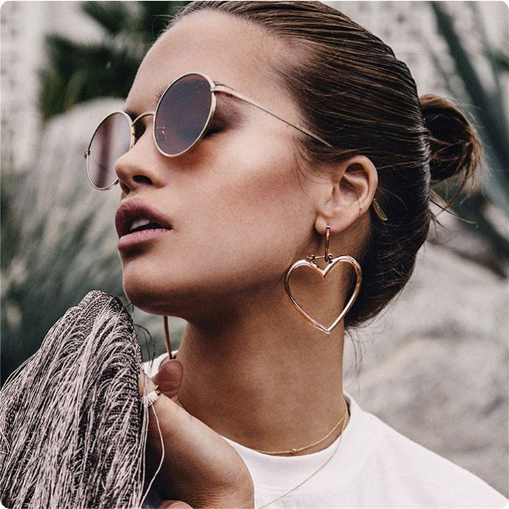 Double Heart Hoop Earrings for Women Big Heart Earrings Gold Rose Gold Large Hoop Earrings Jewellery Oorbellen brincos EH070
