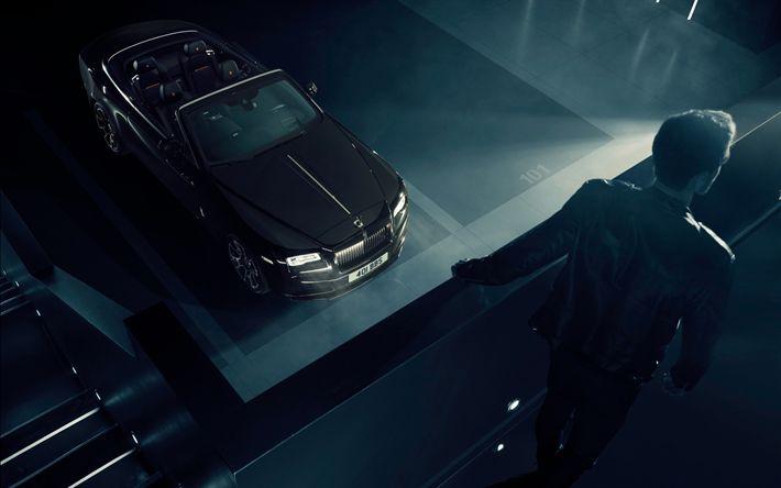 Descargar fondos de pantalla Rolls-Royce Amanecer, Negro Insignia De 2017, coches de Lujo, negro cabriolet, negro Amanecer, Rolls-Royce