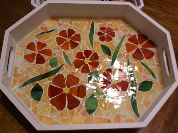red flowers mosaic tray
