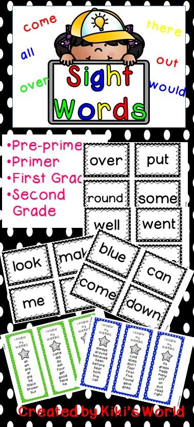 Sight words: Pre-primer, Primer, First Grade and Second Grade