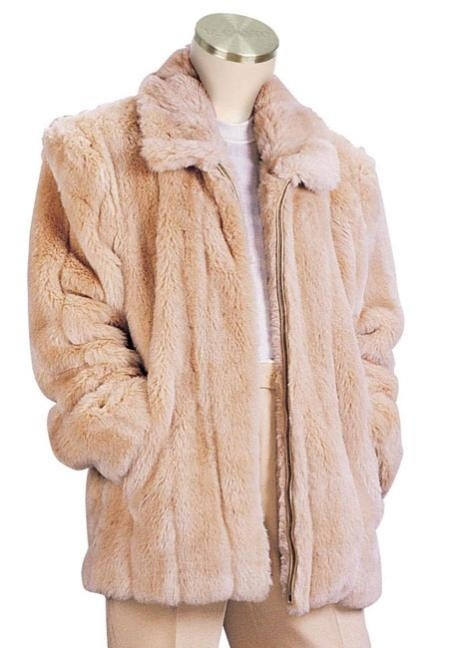 Mens Faux Fur Coat Peach for only US $199. Buy more save more. Buy 3 items get 5% off, Buy 8 items get 10% off.