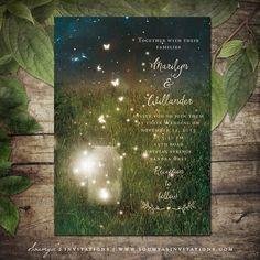 Rustic Garden Lights Wedding Invitation, Enchanted Forest Wedding, Enchanted Forest Invitation, Fireflies Mason Jar Invitation, Summer Wedding, Printable Wedding Invitation by Soumya's Invitations