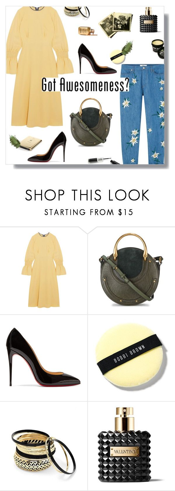"""Got it."" by peony-and-python ❤ liked on Polyvore featuring Roksanda, Chloé, Christian Louboutin, Bobbi Brown Cosmetics, Venus, Valentino, awesome, denim, Heels and colorful"