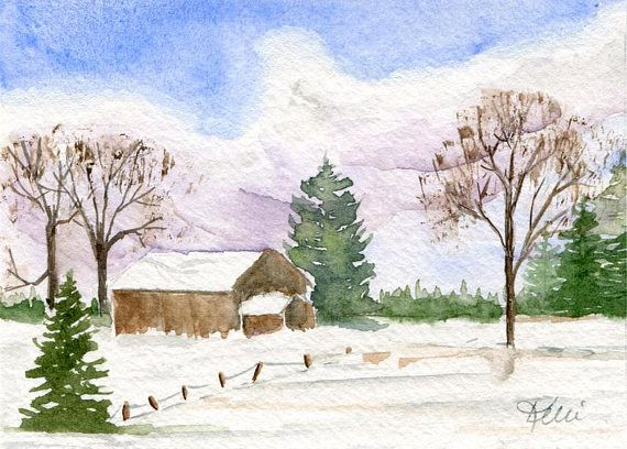 Original Winter Watercolor Landscape Painting  Barn Fence