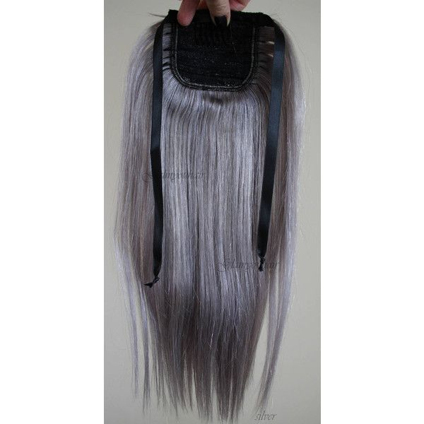 18 Wrap Around-Human Hair Ponytail 100 Human Hair Extensions 18 Inches... (£69) ❤ liked on Polyvore featuring accessories, hair accessories, black, ties & elastics, long hair accessories, silver hair clips, silver comb, hair extension accessories and hair comb