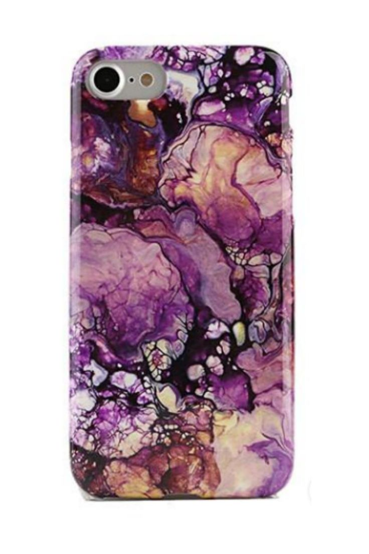 Protective purple galaxy print marble phone case with a gloss finish.     Purple Iphone 6/6s by Velvet Caviar. Accessories - Tech New York