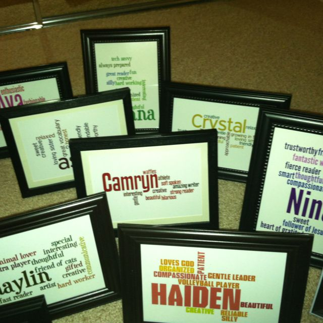 Made these as an end of the year gift for students using the website wordle.com. Frames from the dollar store. Easy& affordable gift!