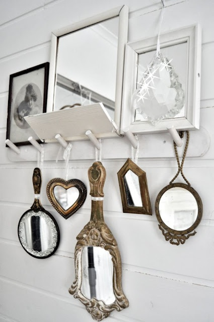 great use of the peg boardWall Art, Vintage Mirrors, Wallart, Decor Ideas, Hands, Antiques Mirrors, Display, Bathroom, Mirrors Mirrors