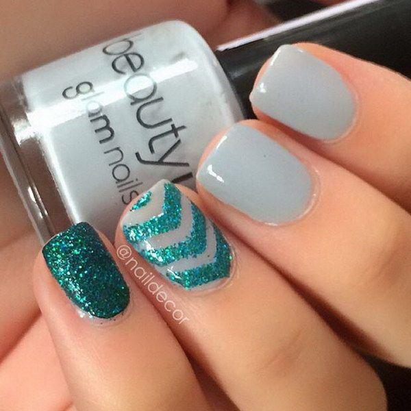 Gray And Green Nail Design For Short Nails.