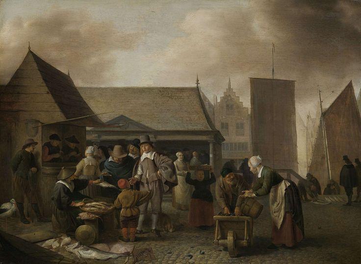 De vismarkt, Hendrick Martensz. Sorgh, 1650 - 1670