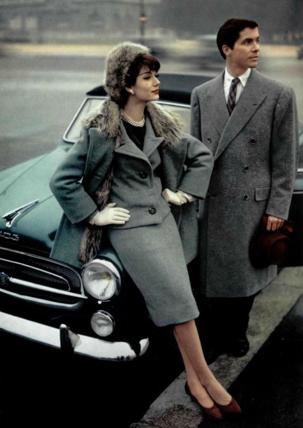 1957 Jean Patou/////// Oh man....look at those shades of grey......LOVE this, both the lady and the gentleman......