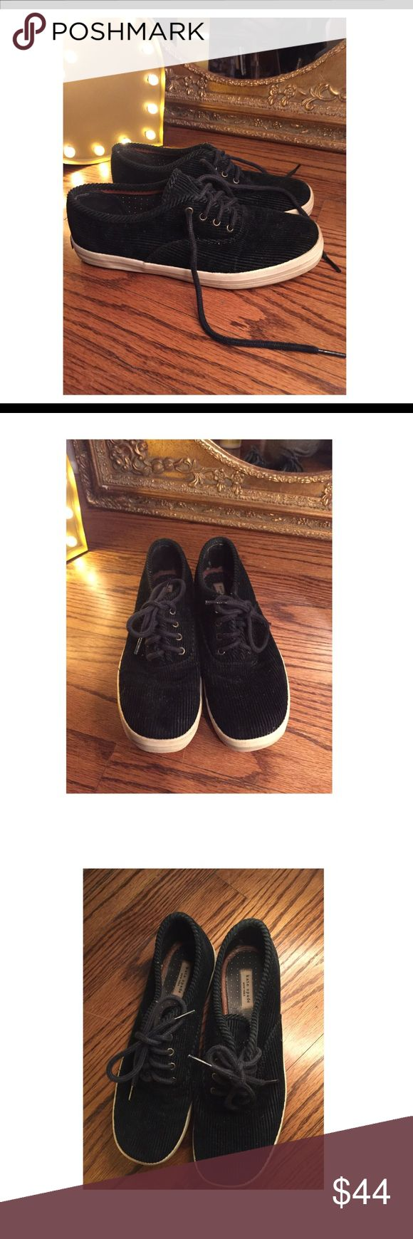 Kate Spade ♠️ New York Sneakers Kate Spade Black Lace up sneakers made of corduroy fabric and rubber sole. So Stylish and Cute✨ kate spade Shoes Sneakers