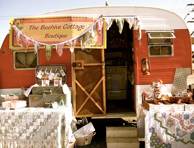 A trailer as part of your booth. The Beehive Cottage