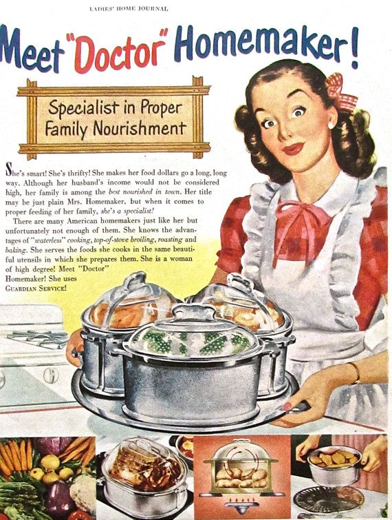 1950s vintage homemaker advertisement guardian cookware for Classic 50s housewife