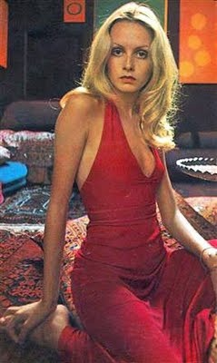 70s Twiggy probably in a Halston dress red halter long ...