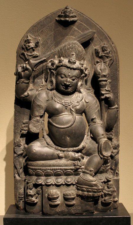 Mahakala - 11th-12th Century Pala Period Black Stone Sculpture