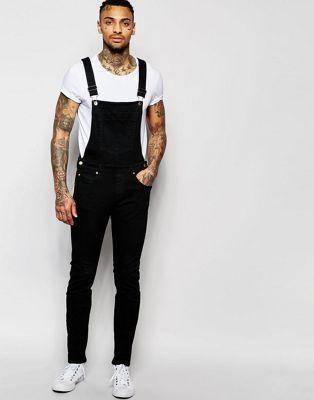 Dr Denim Ira Skinny Overall Jeans in Black