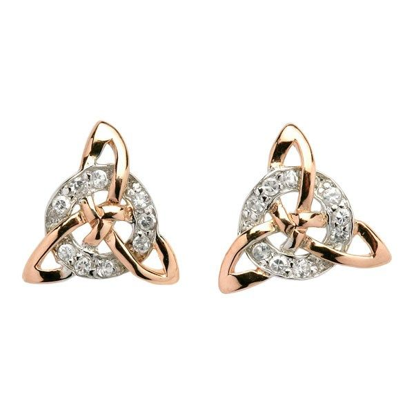 Circle and Trinity Knot Earrings - Celtic Earrings - Rings from Ireland. Featuring a cubic zirconia encrusted circle representing eternity, intertwined with a rose gold plated Celtic Trinity knot. The Trinity knot design symbolizes spiritual growth, eternal life and never ending love, having no beginning and having no end.