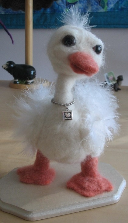 Needle Felted Duck named Ducky by PurplePlatypus on Etsy, $55.00