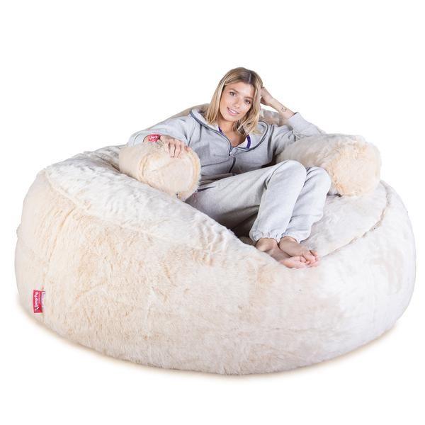 Mega Mammoth Bean Bag Sofa Fluffy Faux Fur White Fox Bean Bag Sofa Bean Bag Bean Bag Chair