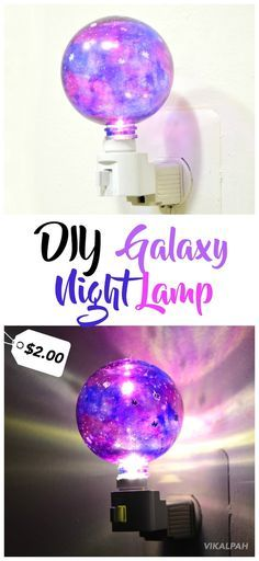 DIY galaxy night lamp for $2 using supplies from dollar store