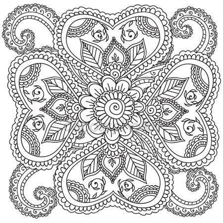 Yükle - Yetişkinler için boyama sayfaları. Kına Mehndi soyut çiçek öğeler Doodles — Stok İllüstrasyon #110340862