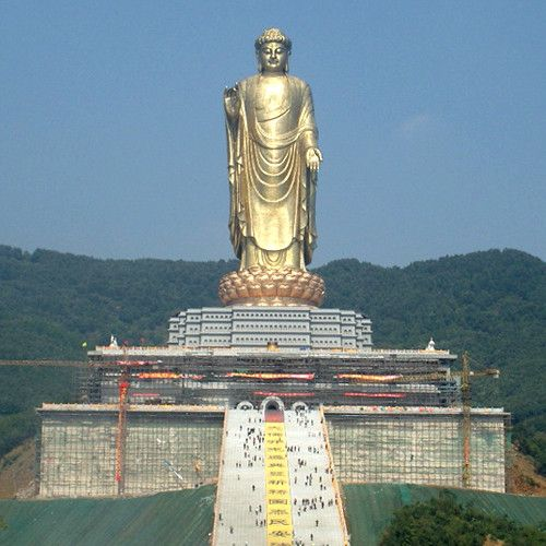 The Spring Temple Buddha is a statue depicting Vairocana Buddha located in the Zhaocun township of Lushan County, Henan, China.