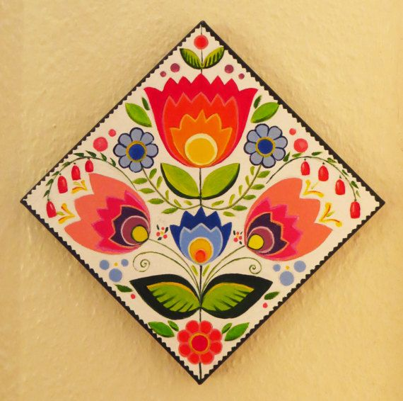New Folk Folk Art Square Canvas Oil Painting by MikiMayoShop, #folkart, #flowersart, #olipainting