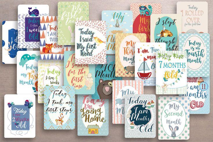 24 tarjetas hitos del bebé - Regalo para Baby Shower - regalo para recién nacido - tarjetas mensuales y semanales - tarjeta nuevo bebé by CuteLittleWorkshop on Etsy