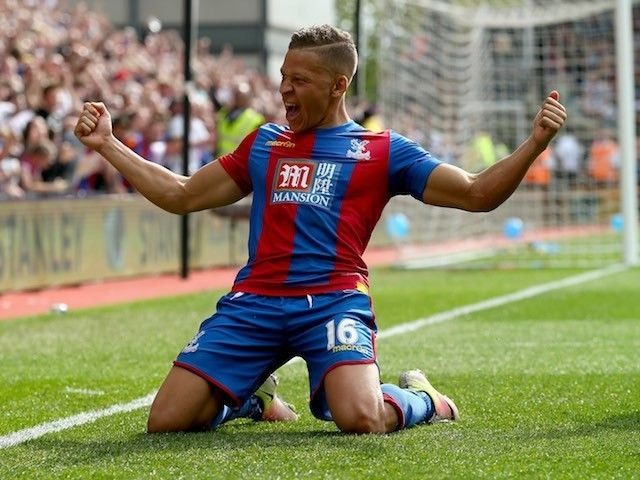 Dwight Gayle celebrates scoring during the Premier League game between Crystal Palace and Stoke City on May 7, 2016, and stakes a claim for a place in the FA Cup final team