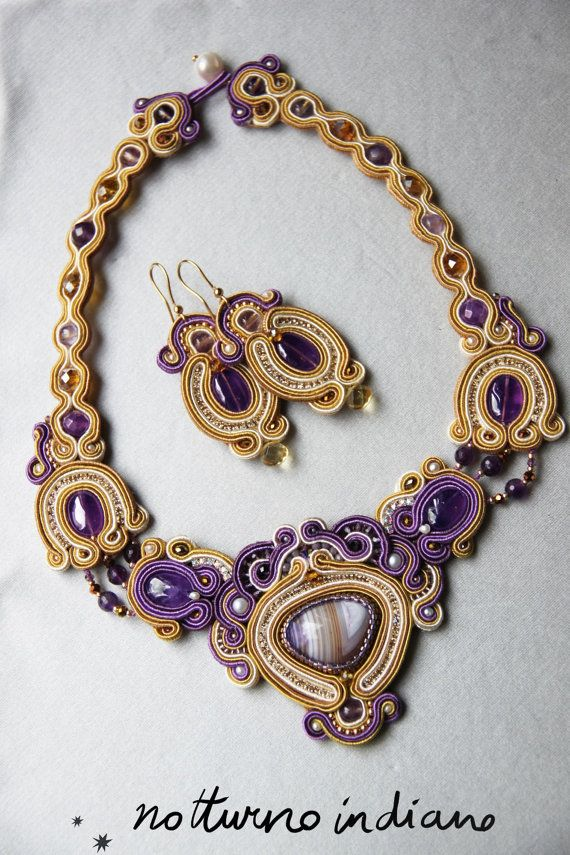 handmade soutache necklace with agathe amethyst di notturnoindiano