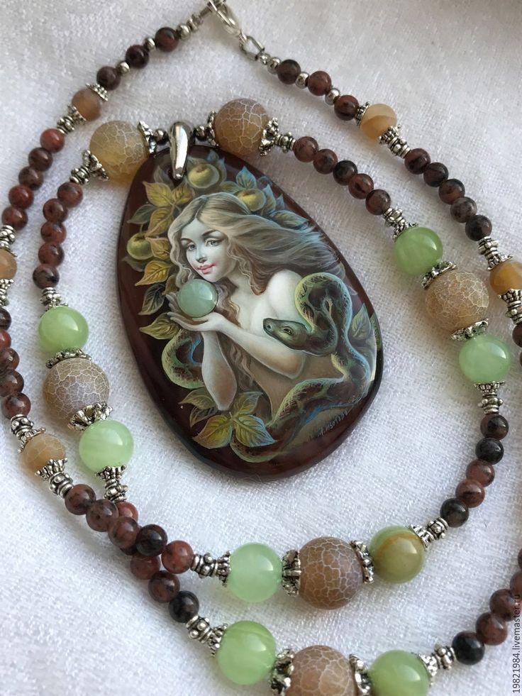 Купить В садах Эдема...2.(колье) - коричневый, ева, змей, Эдем, лаковая миниатюра