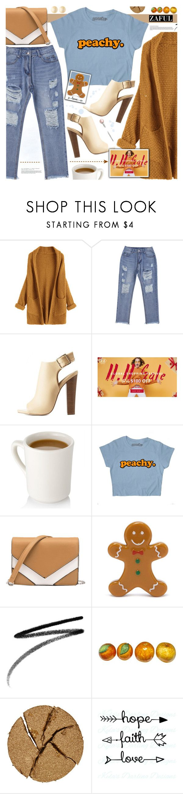 """""""Sale Shopping Festival-ZAFUL"""" by tinkabella222 ❤ liked on Polyvore featuring Mark & Maddux, Forever 21, Clé de Peau Beauté, Pat McGrath, Alexis Bittar, rippedjeans, casuallook, browncardigan, zaful and Beigebag"""