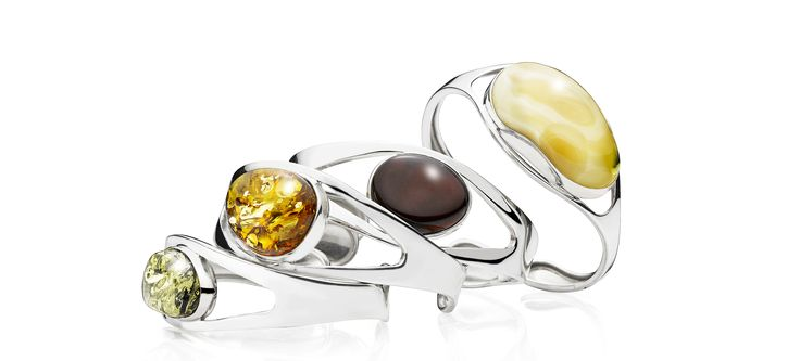 House of Amber - Elegant silver bracelets with green, cognac, cherry, and milky amber.