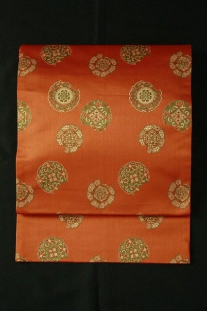 Kaki color fukuro obi / 柿色地 破れ鏡裏文様 全通京袋帯   #Kimono #Japan  http://global.rakuten.com/en/store/aiyama/