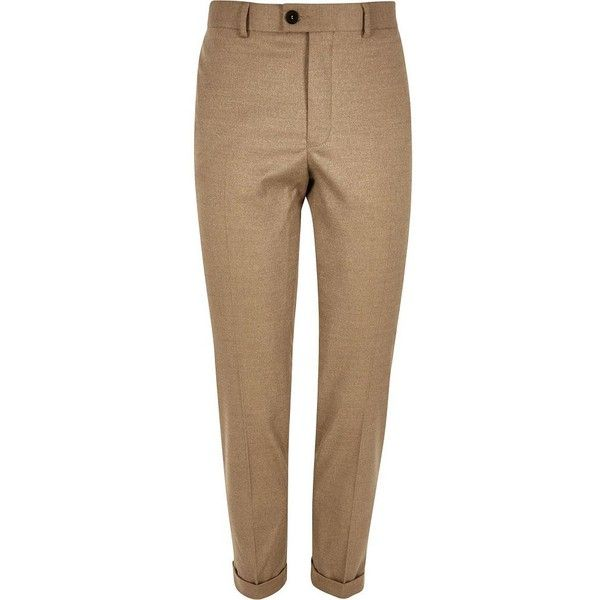 River Island Camel brown smart skinny trousers ($22) ❤ liked on Polyvore featuring men's fashion, men's clothing, men's pants, men's dress pants, sale, stone, mens zip off pants, mens skinny pants, mens skinny fit dress pants and mens brown dress pants