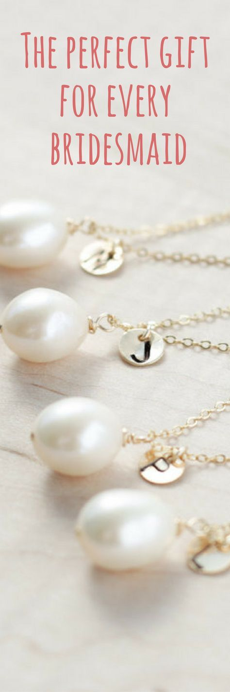 Delicate and dainty REAL freshwater pearl necklaces -- customized for every one of your bridesmaids (and junior bridesmaids, and flower girls, and maid of honor, and mother of the bride...)