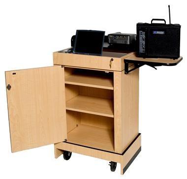 Mobile Multimedia Computer Lectern w Storage