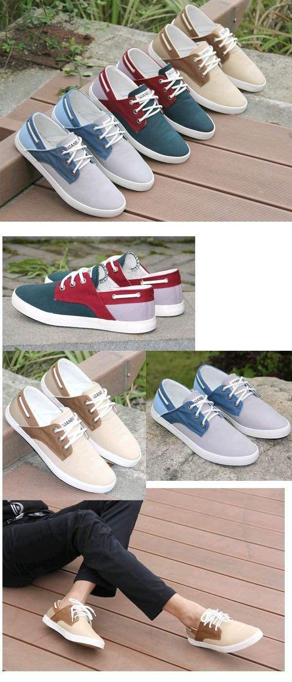 Chaussures bateau Homme Sneakers casual shoes canvas toile chic RougeExiste en 3coloris : rouge - bleu et khaki.Fashion, hype et très confortables. Toile souple et aérée.