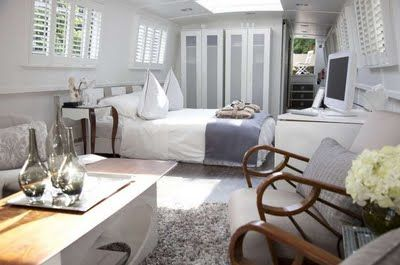 Bedroom aboard a narrowboat, a space I could happily spend a lot of time in