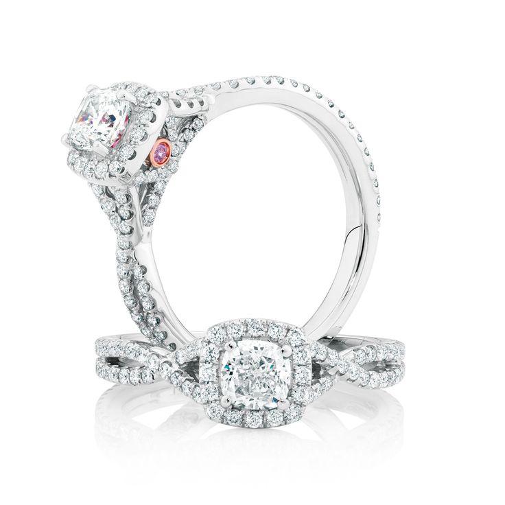 The Michael Hill Designer Bridal Collection | Cushion cut center diamond Adagio ring