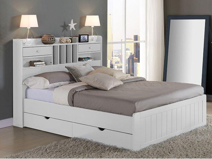Bed MEDERICK met opbergruimte - 140x190 - Wit grenen