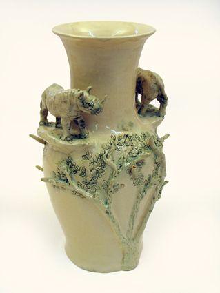 Green Rhino and tree vase