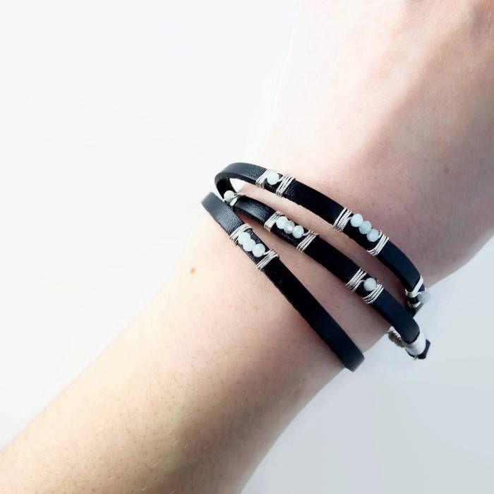 Leather Wrap Bracelet Wire Wrap Bracelet Leather Bracelet Black Leather Custom Womens Bracelet Sterling Silver Gemstone Aquamarine Peridot