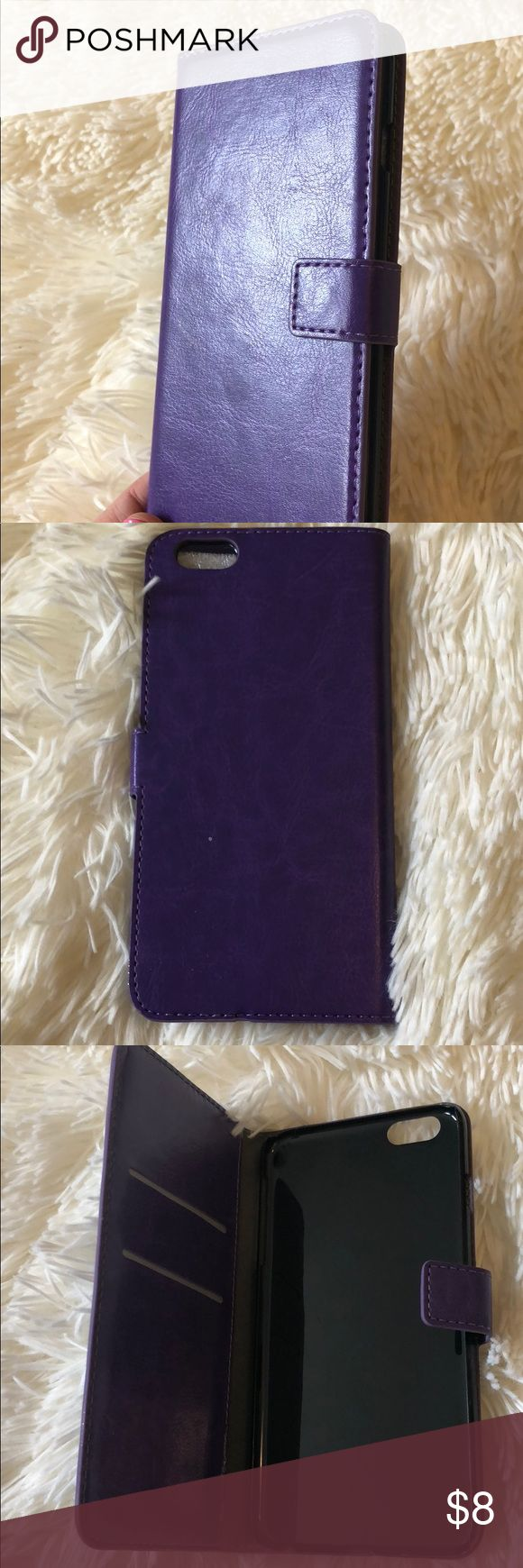 Purple iSavv iPhone 6 Plus Wallet Case Brand new, still in original packaging. Fits 6 plus only (due to 7+ and 8+ wider camera lens). Has magnetic tab closure and slots for two credit cards. Super fun purple color. Accessories Phone Cases